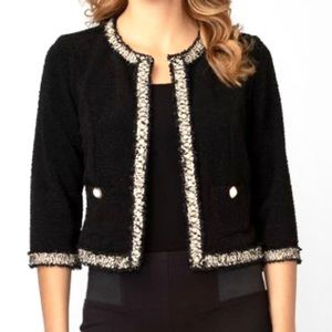 Chanel-inspired Crop Black White Tweed Blazer Jacket with Pearl Buttons Size 6